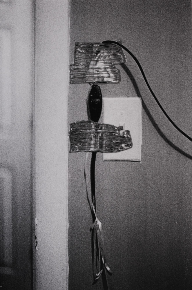 Hanging Light Switch, 2020. Black and White Film (with flash). 11 x 14 in. 3D Pen.
