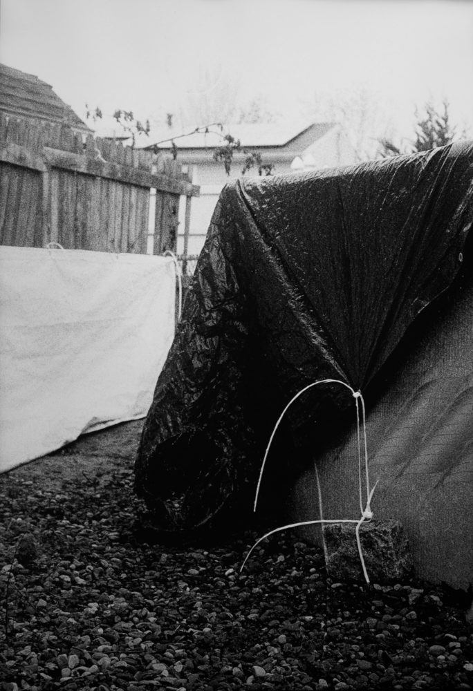 Tarp Pool Cover, 2020. Black and White Film. 25 x 34 in. 3D Pen.